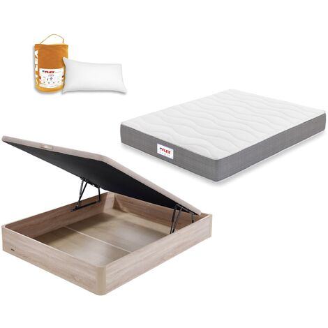 Pack Colchon Flex Visco Supreme 105x190 + Canape Abatible Madera 19 Natural + Almohada Lider