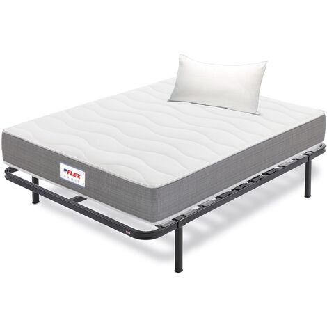 Pack Colchon Flex Visco Supreme 105x200 + Somier Dormilon con patas + Almohada Lider