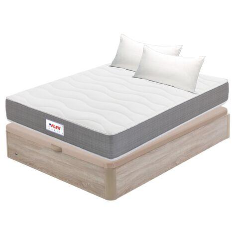 Pack Colchon Flex Visco Supreme 150x200 + Canape Abatible Madera 19 Natural + 2 Almohadas Lider