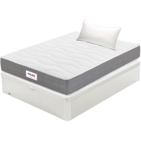 Pack Colchon Flex Visco Supreme 90x190 + Canape Abatible Madera 19 Blanco + Almohada Lider