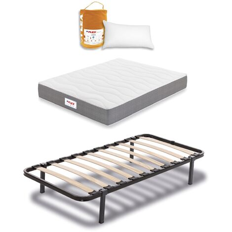 Pack Colchon Flex Visco Supreme 90x190 + Somier Dormilon con patas + Almohada Lider