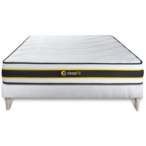 Pack colchón FLEXY 135x190cm + Somier multiláminas, Muelles ensacados y espuma viscoelástica, 3 zonas de confort