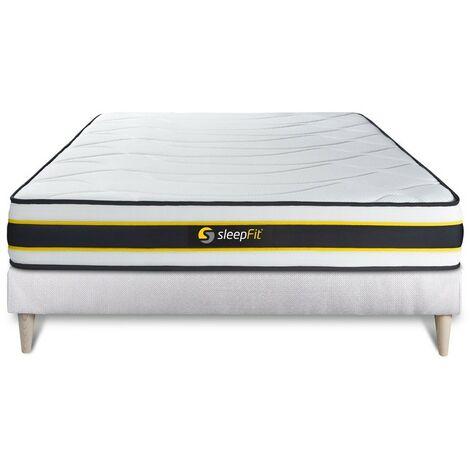 Pack colchón FLEXY 150x190cm + Somier multiláminas, Muelles ensacados y espuma viscoelástica, 3 zonas de confort