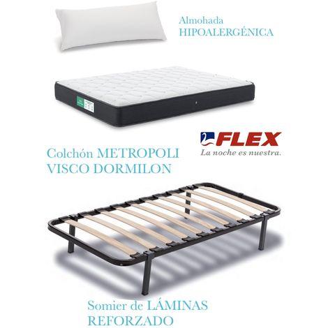 PACK COLCHON METROPOLI VISCO + SOMIER DORMILON CON PATAS+ALMOHADA LIDER