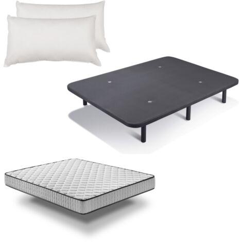 Pack Colchón Pronature Basic + Base Tapizada con patas + Almohada fibra