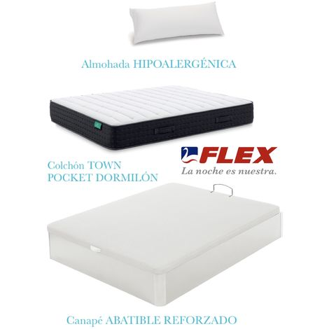 PACK COLCHON TOWN POCKET  + CANAPE ABATIBLE MADERA 19 COLOR BLANCO