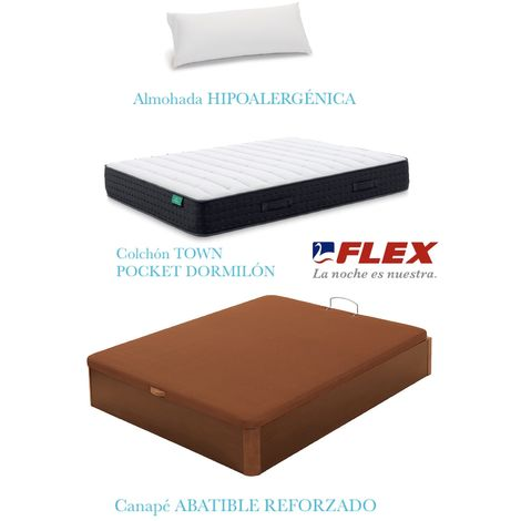 PACK COLCHON TOWN POCKET  + CANAPE ABATIBLE MADERA 19 COLOR CEREZO