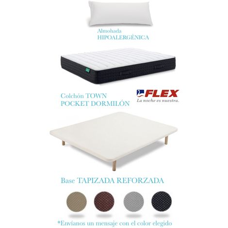 PACK COLCHON TOWN POCKET + TAPIFLEX TRANSPIRABLE CON PATAS