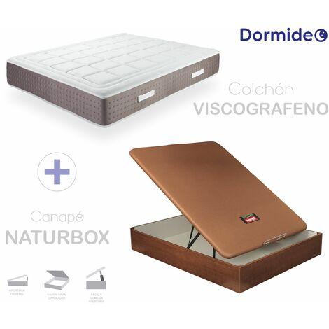 Pack Colchón Viscografeno + Canapé Abatible de Madera Naturbox 3D Pikolin Cerezo