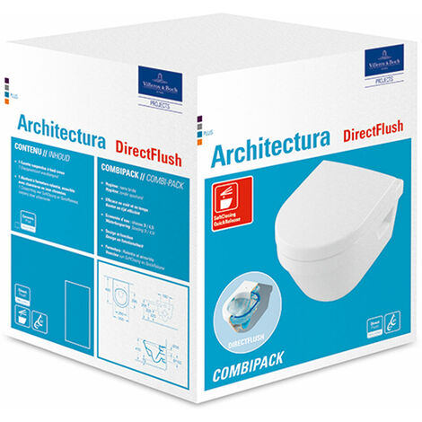 Pack Combi VetB Architectura WC suspendu Direct Flush compact+abattant Softclose, blanc