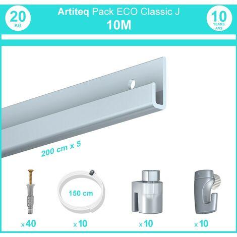 Pack complet 10 mètres cimaise Classic J couleur Aluminium - Suspension et déplacement facile de cadres et tableaux - 10 câbles perlon slider 150 cm