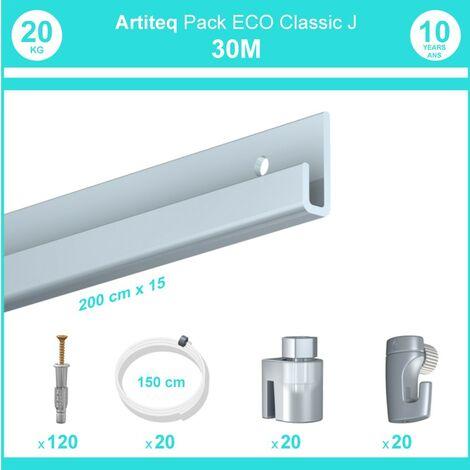 Pack complet 30 mètres cimaise Classic J couleur Aluminium - Suspension et déplacement facile de cadres et tableaux - 20 câbles perlon slider 150 cm