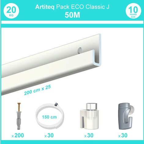 Pack complet 50 mètres cimaise Classic J couleur Blanc laqué - Suspension et déplacement facile de cadres et tableaux - 30 câbles perlon slider 150 cm