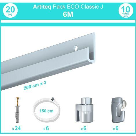 Pack complet 6 mètres cimaise Classic J couleur Aluminium - Suspension et déplacement facile de cadres et tableaux - 6 câbles perlon slider 150 cm