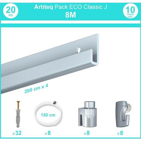 Pack complet 8 mètres cimaise Classic J couleur Aluminium - Suspension et déplacement facile de cadres et tableaux - 8 câbles perlon slider 150 cm