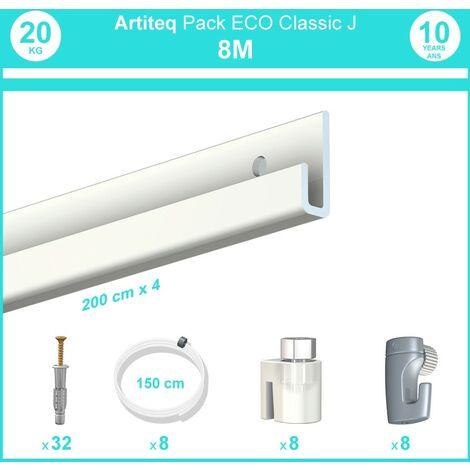 Pack complet 8 mètres cimaise Classic J couleur Blanc laqué - Suspension et déplacement facile de cadres et tableaux - 8 câbles perlon slider 150 cm