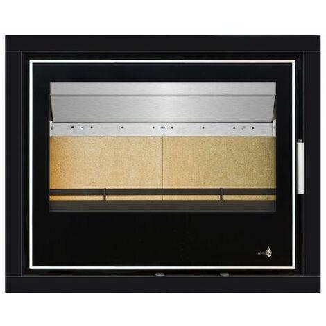 Pack Complet INSERT Black Serie modèle LISBOA-700 porte - 12kW - Ventilation et Cadre 4 côtés Verre