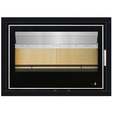 Pack Complet INSERT Black Serie modèle LISBOA-800 - 13kW - Ventilation et Cadre 4 côtés Verre