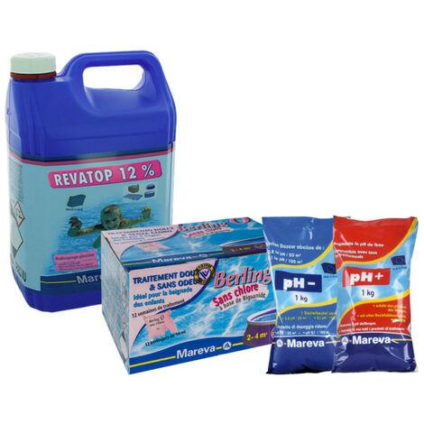 Pack complet nettoyage sans chlore MAREVA pour piscine de 2 à 4 m3 - Berling'o - Revatop - réducteur et réhausseur de pH