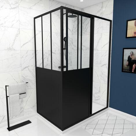Pack complet Paroi porte de douche coulissante 120cm+ paroi de retour type atelier+ receveur blanc