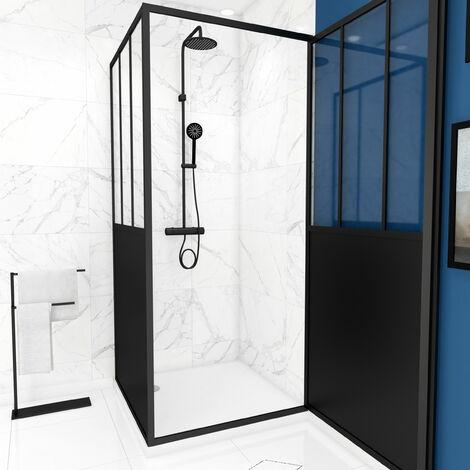 Pack complet Paroi porte de douche pivotante et paroi de retour type atelier et receveur blanc
