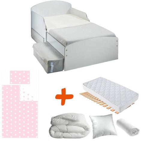 Pack complet Premium Lit Blanc Tiroirs fille = Lit+Matelas & Parure+Couette+Oreiller