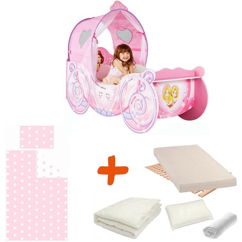 Pack complet Premium Lit Carrosse Legende Princesse Disney = Lit+Matelas & Parure+Couette+Oreiller