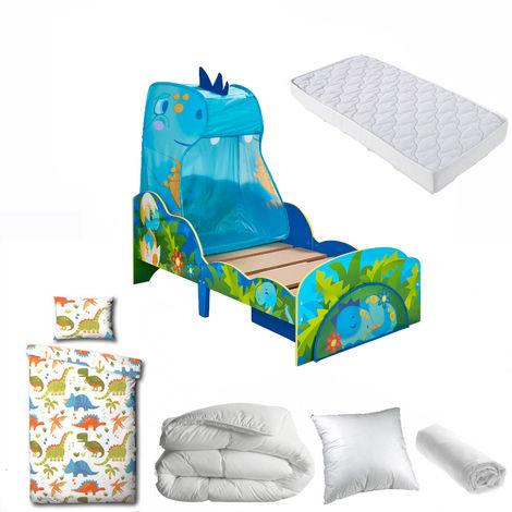 Pack complet Premium Lit Dinosaure Ciel de lit et tiroir = Lit+Matelas & Parure+Couette+Oreiller