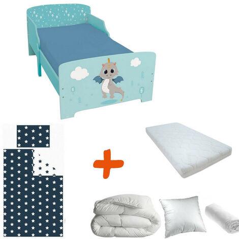 Pack complet Premium Lit enfant Dragon = Lit+Matelas & Parure+Couette+Oreiller