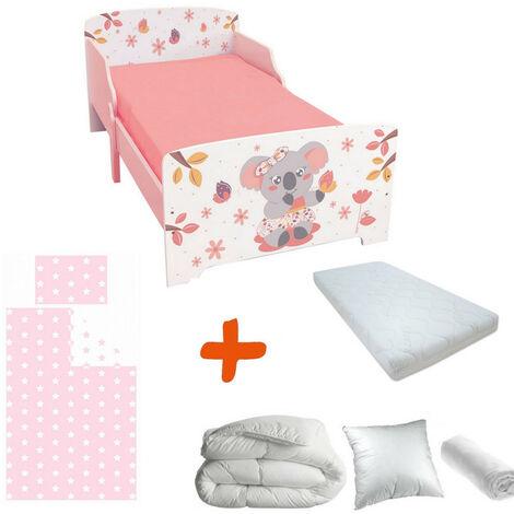 Pack complet Premium Lit enfant Koala = Lit+Matelas & Parure+Couette+Oreiller