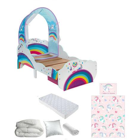 Pack complet Premium Lit enfant Licorne Arcs-en-ciel = Lit+Matelas & Parure+Couette+Oreiller