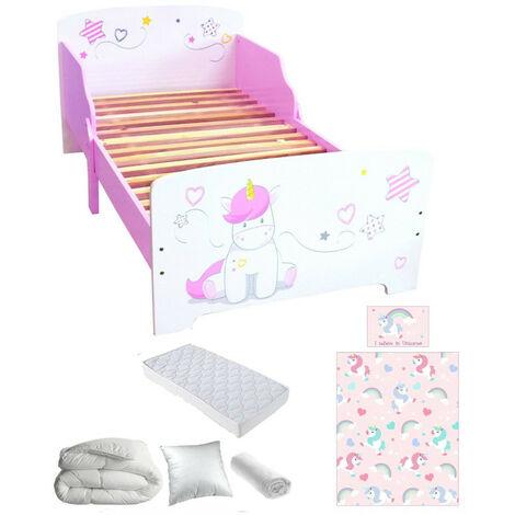 Pack complet Premium Lit enfant Licorne = Lit+Matelas & Parure+Couette+Oreiller