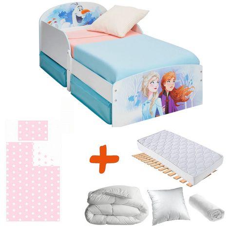 Pack complet Premium Lit Tiroirs Elsa et Anna Reine des Neiges 2 Disney = Lit+Matelas & Parure+Couette+Oreiller