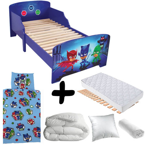 Pack complet Premium Lit Trio Pyjamasques = Lit+Matelas & Parure+Couette+Oreiller