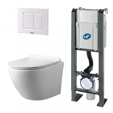 Pack Complet WC Sans Bride Bati Autoportant + Cuvette + Plaque Blanche modele CHRONO