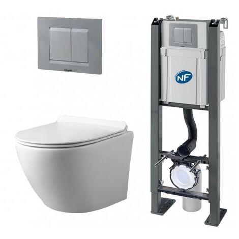 Pack Complet WC Sans Bride Bati Autoportant + Cuvette + Plaque Chromée modele CHRONO - RIM