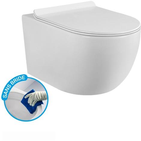 Pack Complet WC Sans Bride Bati Autoportant + Cuvette + Plaque modele CHRONO