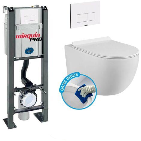 Pack Complet WC Sans Bride Bati Autoportant + Cuvette sans bride + Plaque Blanche DESIGN