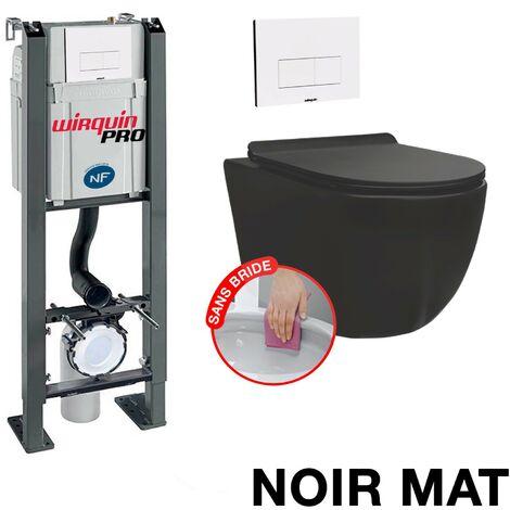 Pack Complet WC Sans Bride Bati Autoportant Cuvette sans bride Plaque Blanche Design modele CHRONO
