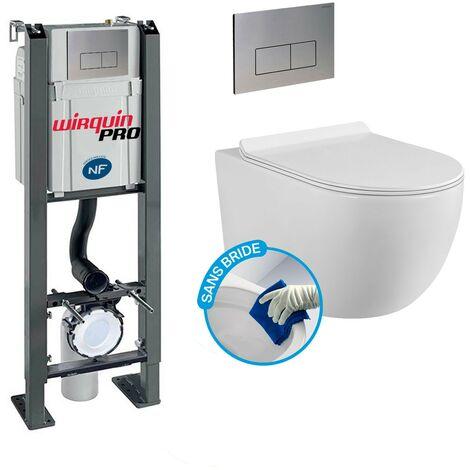 Pack Complet WC Sans Bride Bati Autoportant + Cuvette sans bride + Plaque Chromée DESIGN