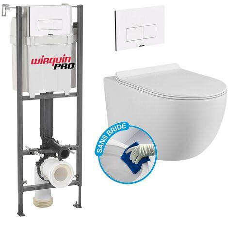 Pack Complet WC Sans Bride Bati INITIO + Cuvette sans bride + Plaque Blanche modele DESIGN