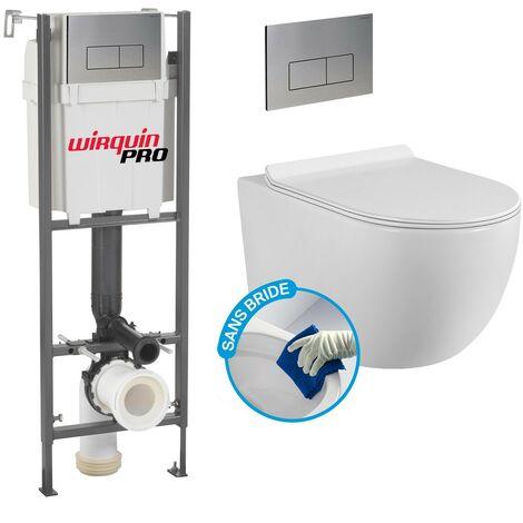 Pack Complet WC Sans Bride Bati INITIO + Cuvette sans bride + Plaque Chromée modele DESIGN