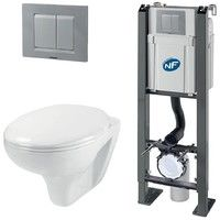 Pack Complet WC Suspendu Bati Autoportant + Cuvette + Plaque Chromé ...