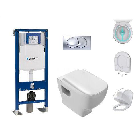 Pack Complet WC suspendu Gerberit Autoportant + Plaque Delta Chromée + cuvette sans bride STRUKTURA Jacob Delafon
