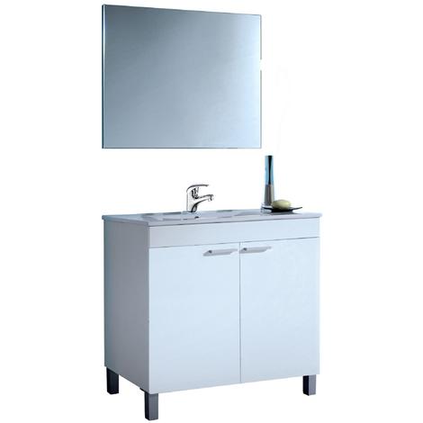 Pack Completo de Baño: mueble lavabo de PMMA + Espejo + Grifería + columna de baño