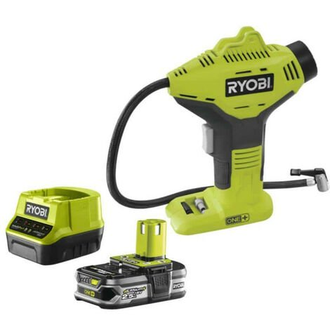 Pack compresseur RYOBI 18V One Plus R18PI-0 - 1 batterie 2.5Ah LithiumPlus - chargeur rapide 2.0Ah RC18120-125