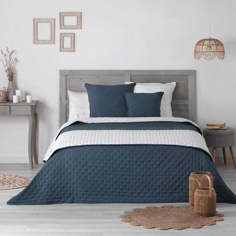 Pack Couvre lit 220x240 cm + 2 housses coussin 60x60 Mellow chic Bleu/blanc