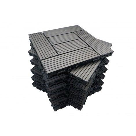 Pack dalle de terrasse 1m² bois composite classic (11 pièces 30 x 30 cm )