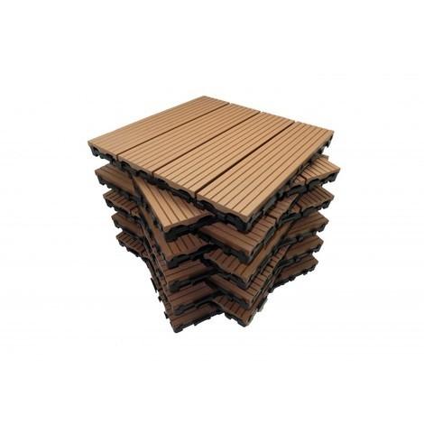 Pack dalle de terrasse 1m² bois composite modular (11 pièces 30 x 30 cm)