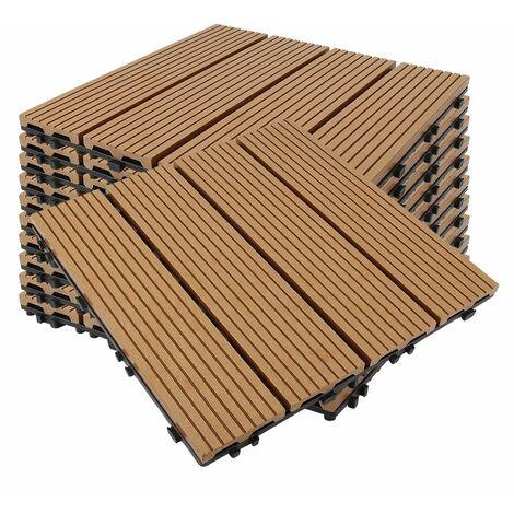 Pack dalle de terrasse 1m² bois composite modular (11 pièces 30 x 30 cm) - L: 30 cm - l: 30 cm - Terre cuite